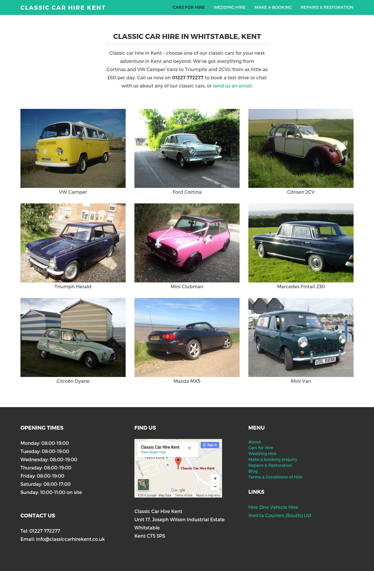 Classic Car Hire Website